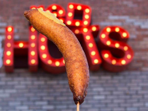Luschers Red Hots corn dog