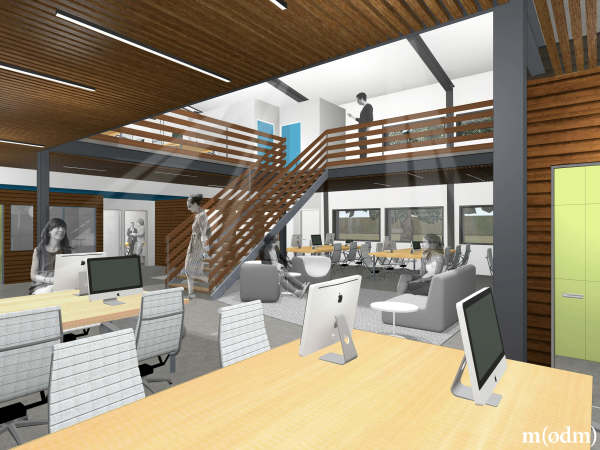 ATX Factory co-working space office East Austin rendering workspace