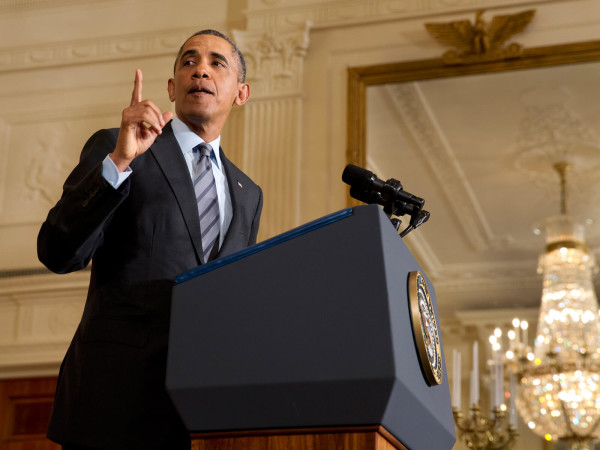 President Barack Obama speaking in East Room White House January 2014