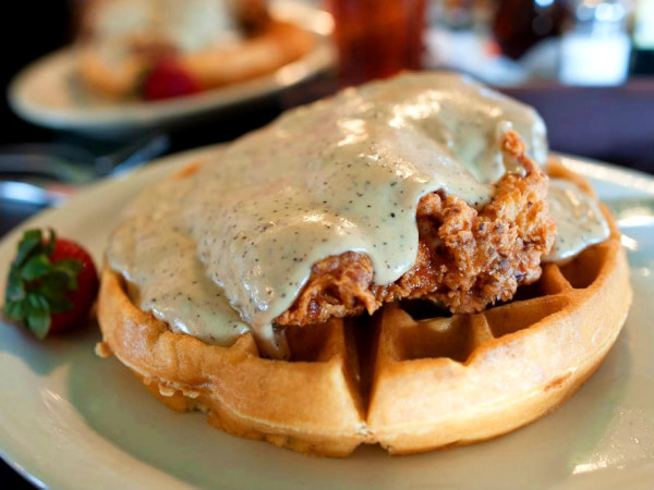 Chicken and waffles at Jonathon's Oak Cliff restaurant