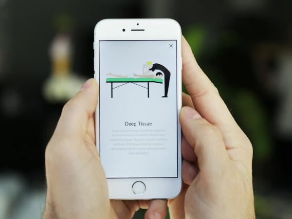 Zeel massage on demand app phone screen