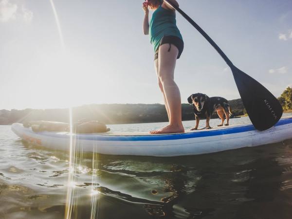 Austin Canoe Kayak paddle boarding dog
