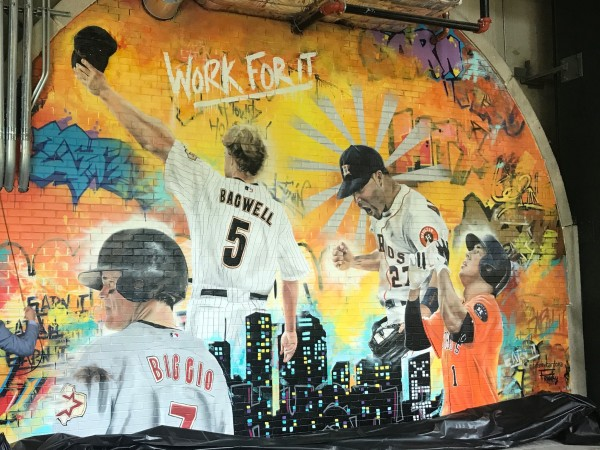 Astros Minute Maid park center field graffiti mural