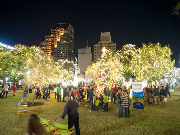 Holiday lights in Travis Park in San Antonio