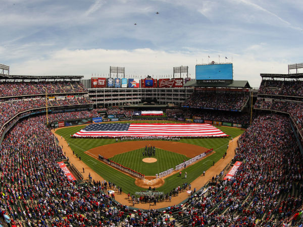 Globe Life Park in Arlington on opening day 2015