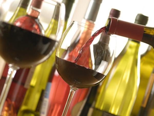 Wine poured in glasses