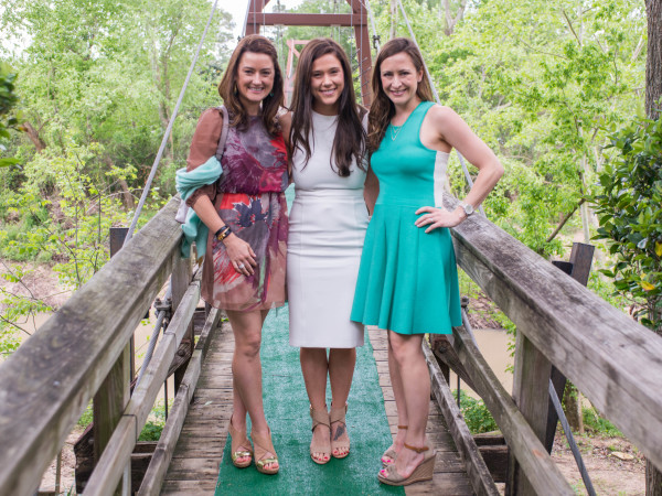 Bayou Bend luncheon, April 2016, Patrice Heins, Krystal Thompson, Milessa Lowery