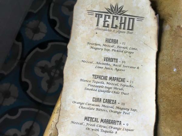 Techo Mezcaleria & Agave Bar mezcal mescal cocktail menu 2015