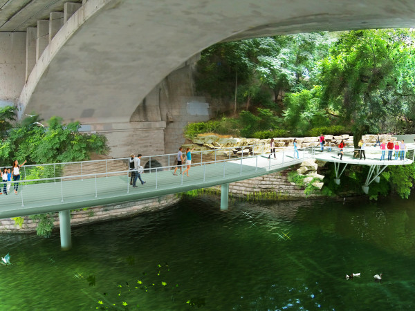 Butler Trail at Congress Avenue Bridge rendering 2015 Lady Bird Lake