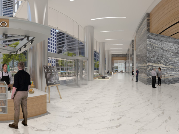 Capitol Tower lobby in VR rendering