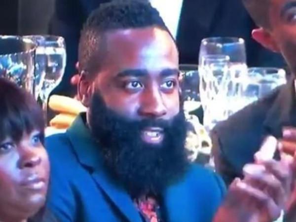 James Harden stares at Nicki Minaj at NBA Awards