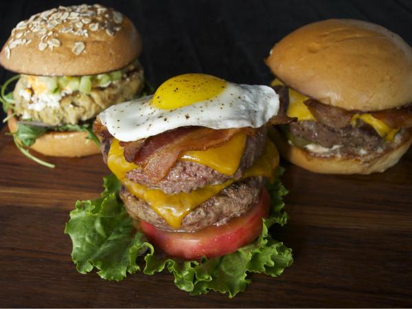 Trio of burgers