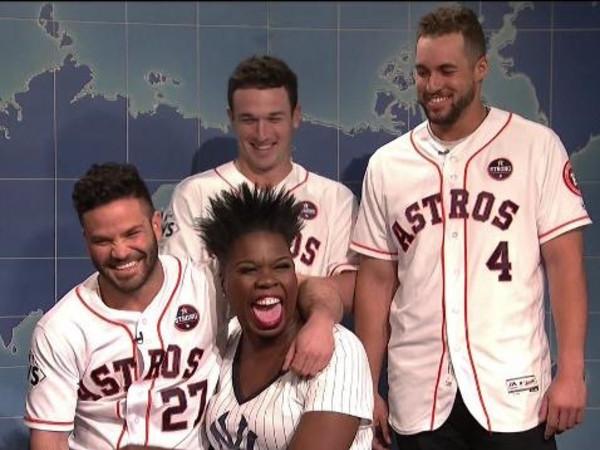 Leslie Jones, Jose Altuve, Alex Bregman, George Springer on Saturday Night Live
