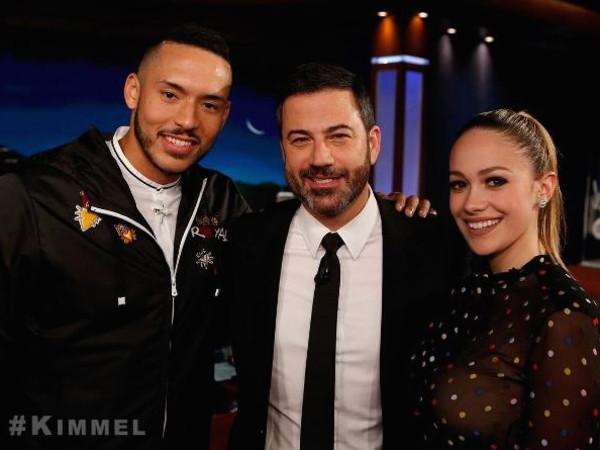 Carlos Correa and Daniella Rodriguez on Jimmy Kimmel - cropped photo