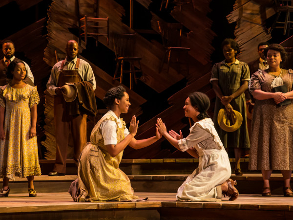 Adrianna Hicks (Celie) and N'Jameh Camara (Nettie) and the North American tour cast of The Color Purple
