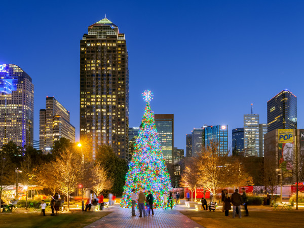 Christmas tree at Klyde Warren Park in Dallas