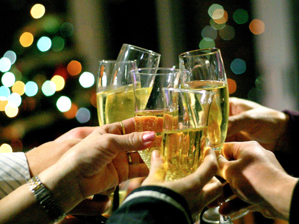 Champagne toast on New Year's Eve
