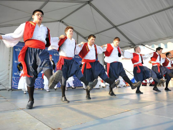 Greek Festival, dancing men in traditional dress