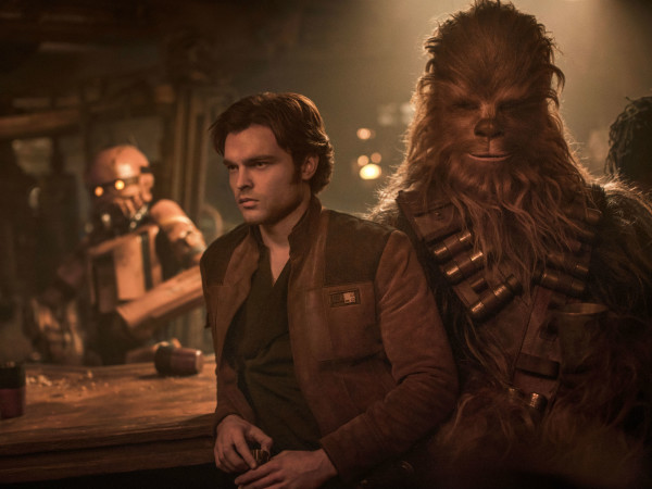 Alden Ehrenreich and Joonas Suotamo in Solo: A Star Wars Story