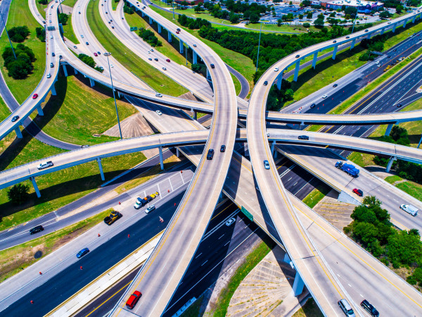Austin highway aerial view