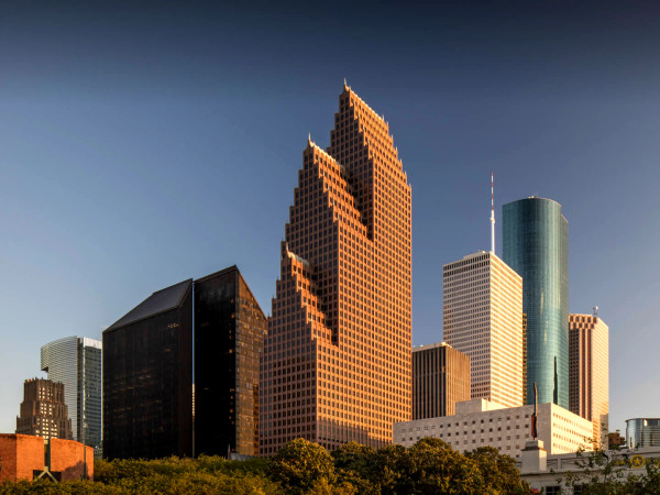 Bank of America center downtown Houston skyline