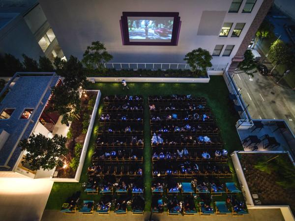 Rooftop Cinema Club hero shot full aerial shot BLVD Place outdoor movie