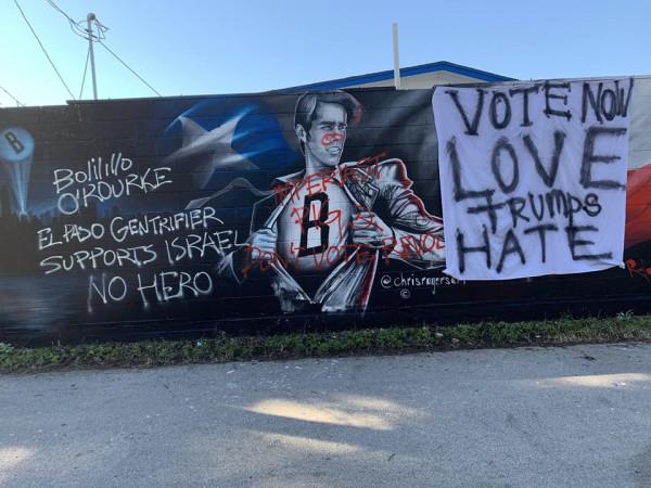 Beto O'Rourke mural vandalized Austin