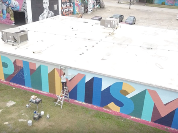 Frost Bank Opt for Optimism mural Houston
