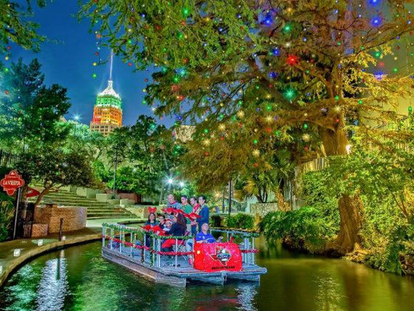San Antonio River Walk Christmas holiday boat