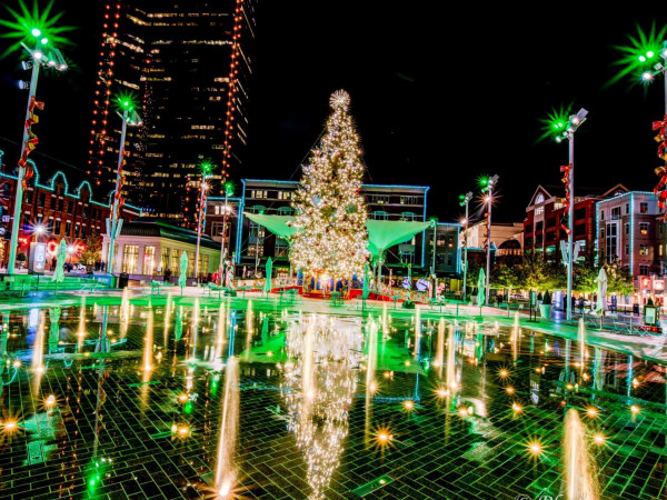 Sundance Square Plaza Christmas lights