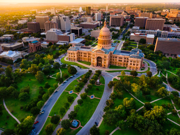 Austin Texas State Capitol aerial