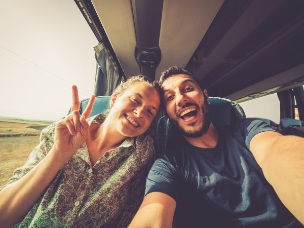 Two people on a bus