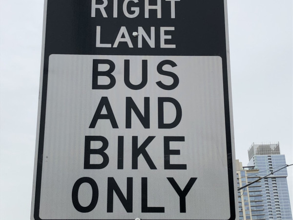 Bus bike lane sign