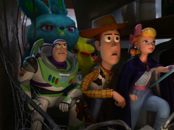 Buzz Lightyear, Bunny, Ducky, Woody, and Bo Peep in Toy Story 4