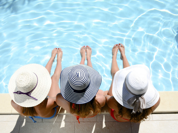 Three women at the pool