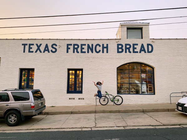 Texas French Bread exterior person jumping