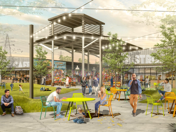 Houston Farmers Market courtyard rendering
