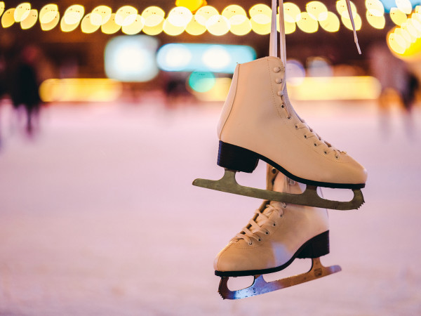 ice skates on an ice rink