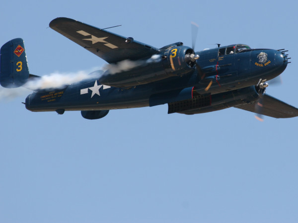 B25 Devil Dog bomber warplane vintage