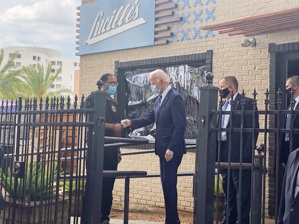 Lucille's Joe Biden Chris Williams fist bump