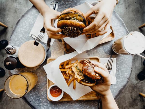 Hamburger, fries, shake