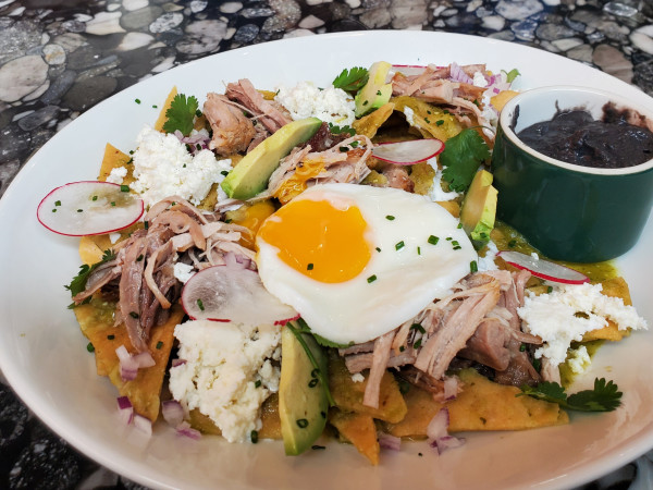 Homestead chilaquiles with carnitas