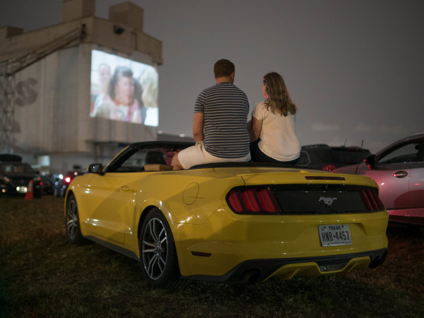 Drive-In Sawyer Yards Houston car couple Rooftop Cinema Club
