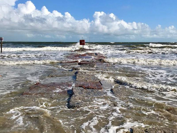 Galveston beach high water storm surge