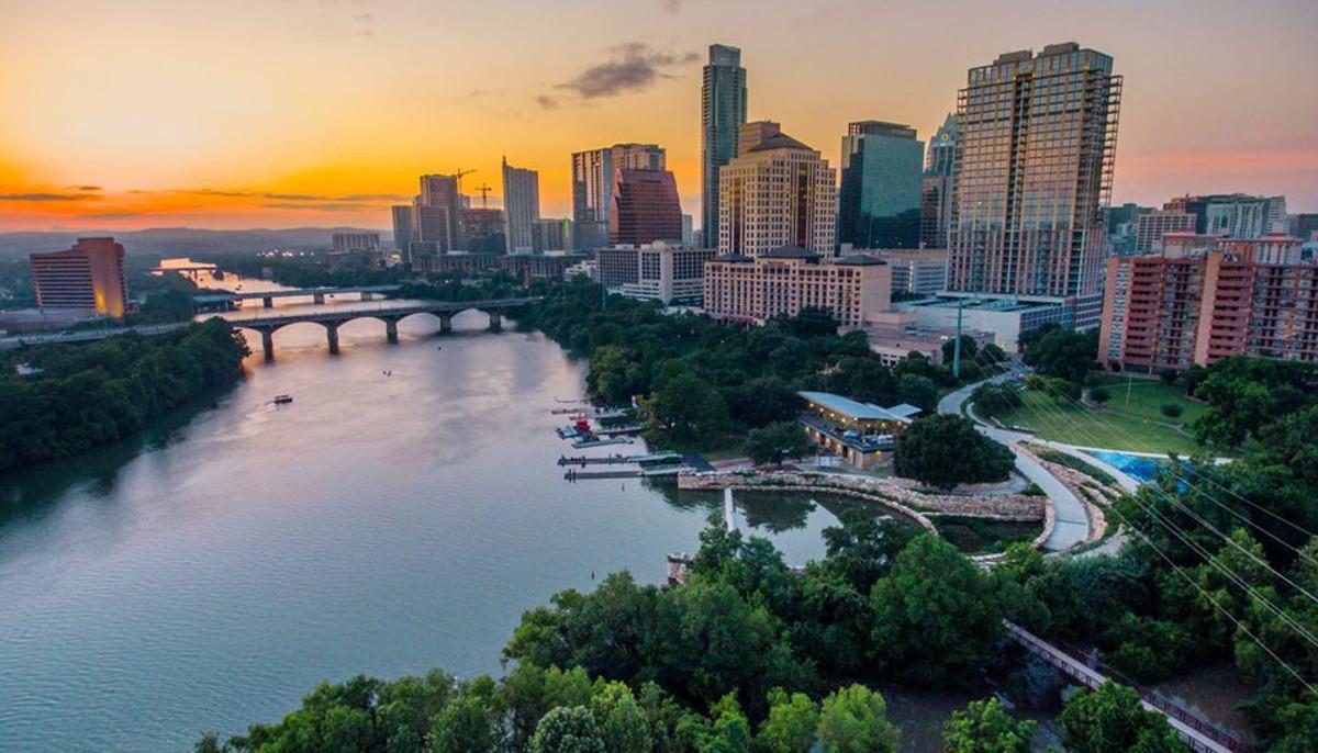 Austin skyline including Lady Bird Lake