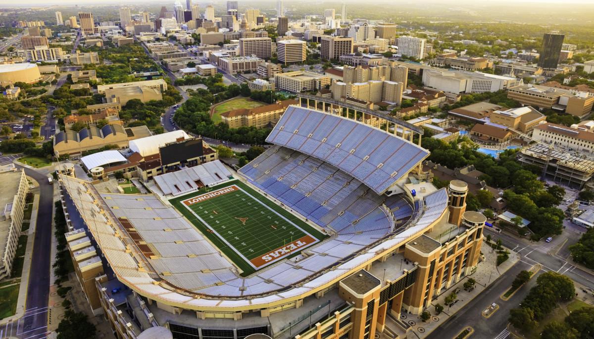 UT Austin football stadium aerial view