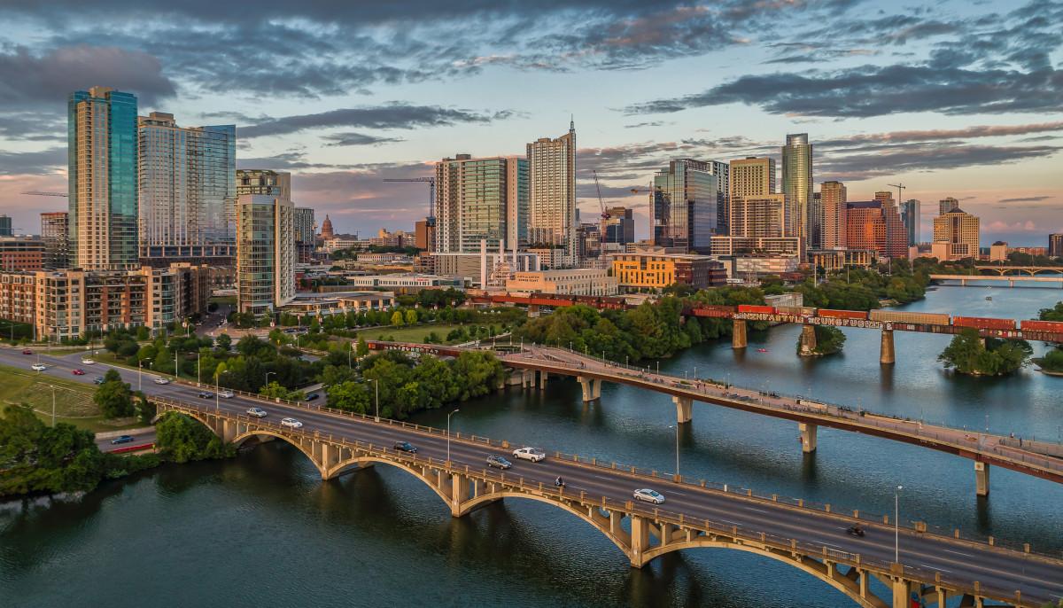 Austin aerial skyline with bridges and Lady Bird Lake