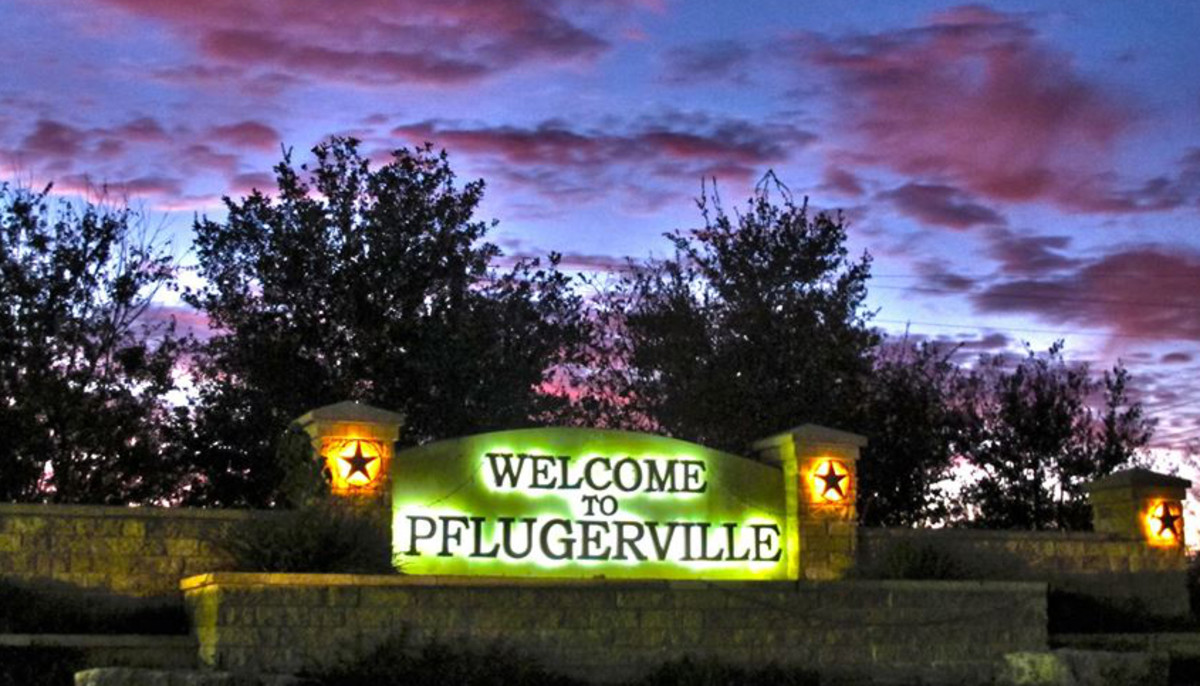 Pflugerville city sign