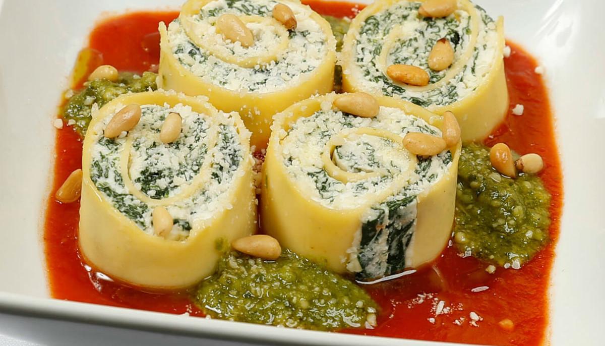 spinach ricotta rotolo pasta