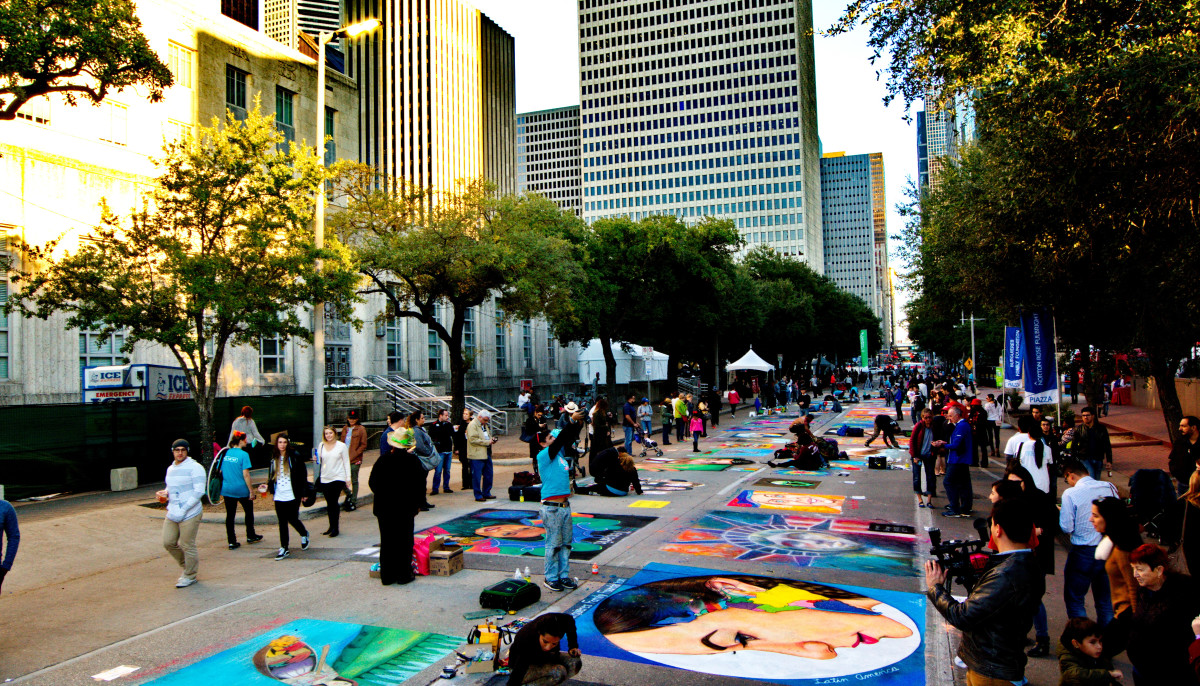 Massive chalk art festival sketches over downtown Houston sidewalks